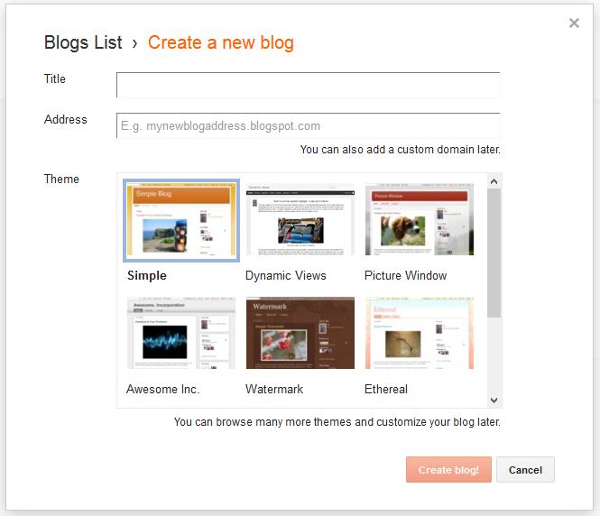 Breate a blogger/blogspot blog - Title, Address, Theme