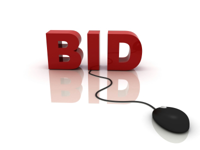 Bid in red letters with mouse cable attached