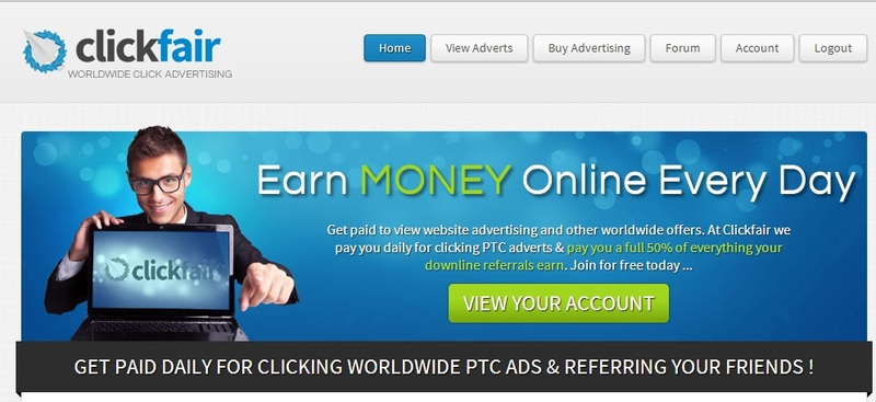 clickfair-ptc-earn-money-online-ever-day-homepage